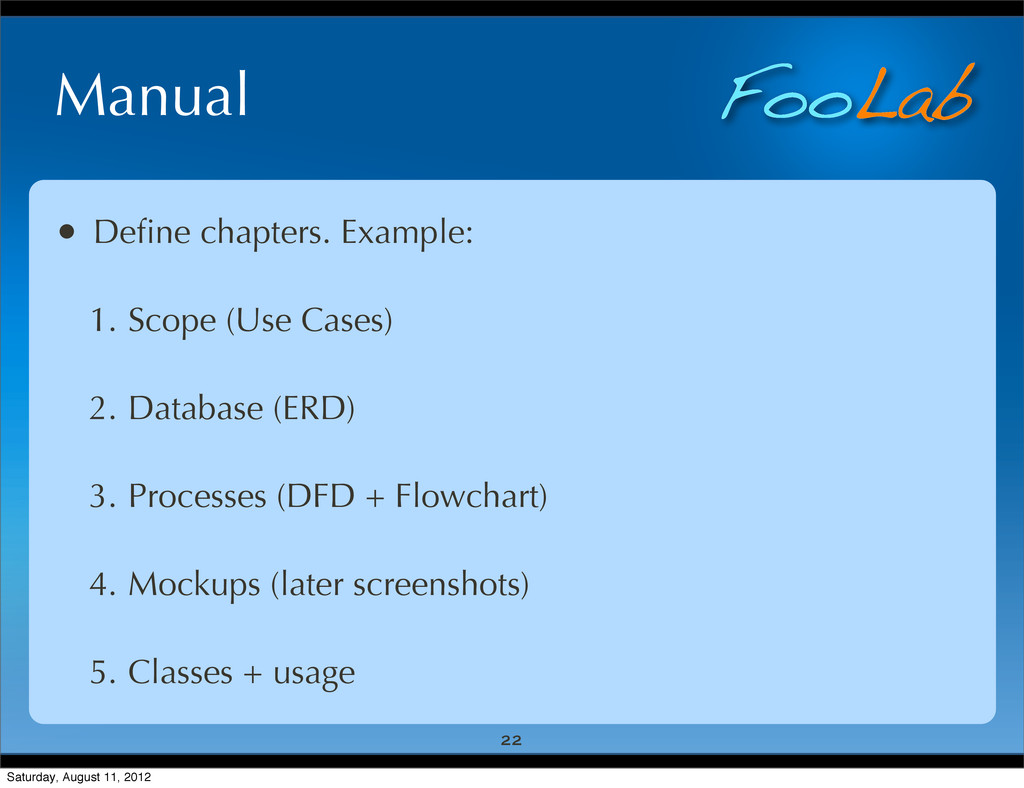 FooLab Manual • Define chapters. Example: 1. Sco...