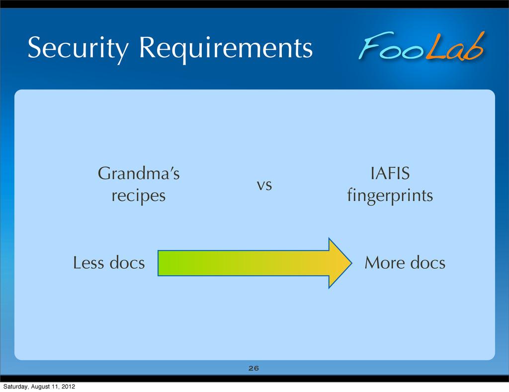 FooLab Security Requirements 26 Grandma's recip...