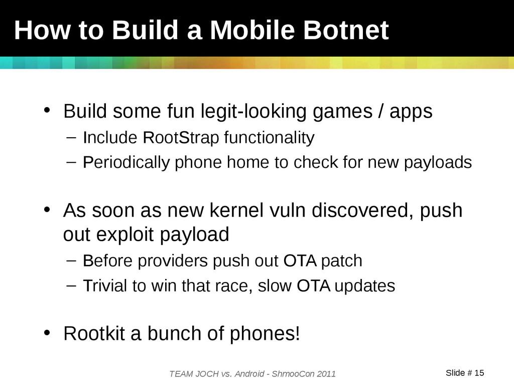 Slide # 15 TEAM JOCH vs. Android - ShmooCon 201...