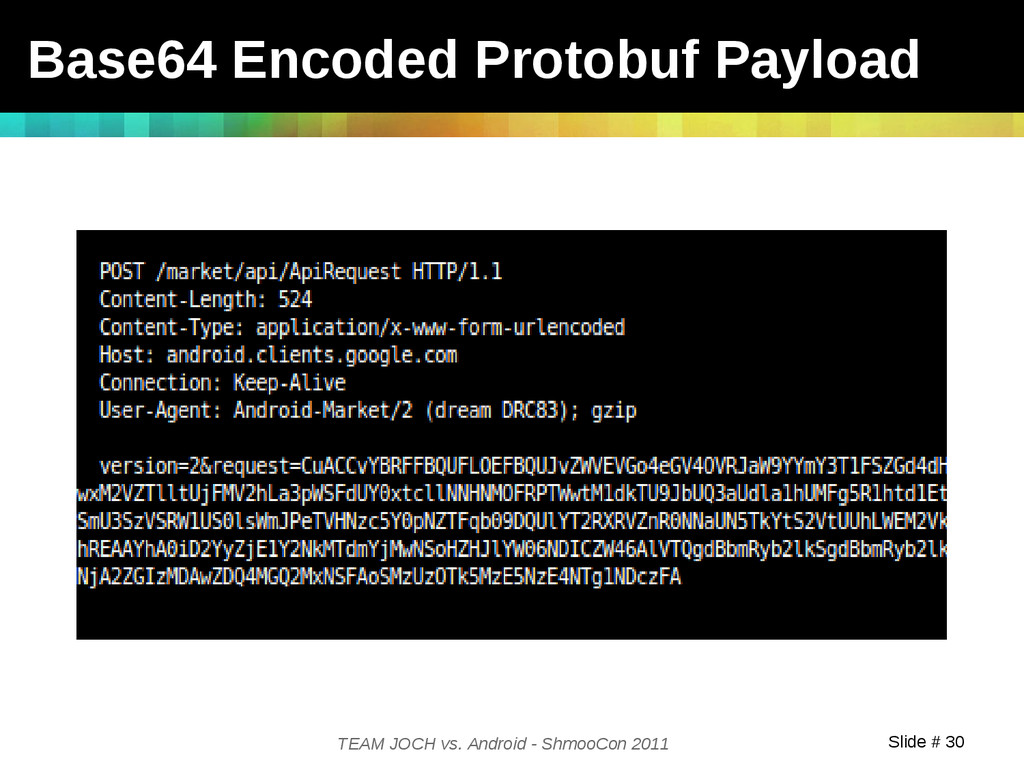 Slide # 30 TEAM JOCH vs. Android - ShmooCon 201...