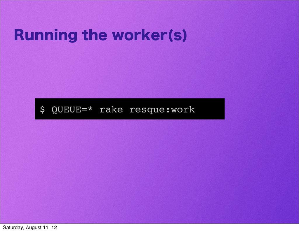 3VOOJOHUIFXPSLFS T  $ QUEUE=* rake resque:wor...