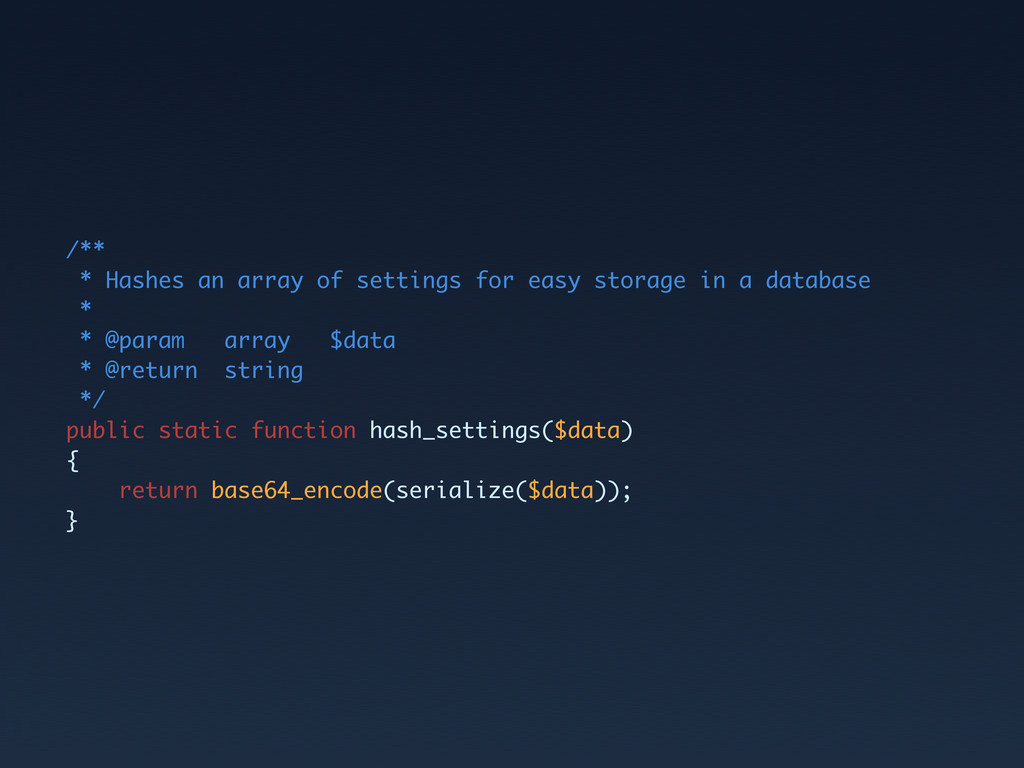 /** * Hashes an array of settings for easy stor...