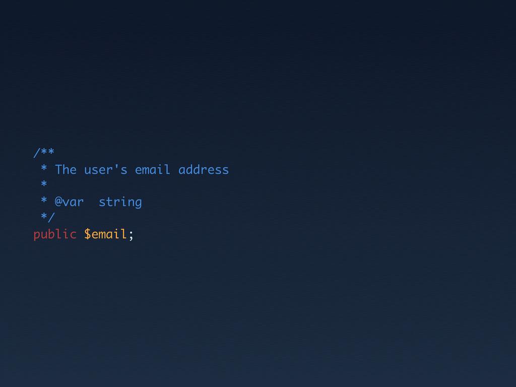 /** * The user's email address * * @var string ...