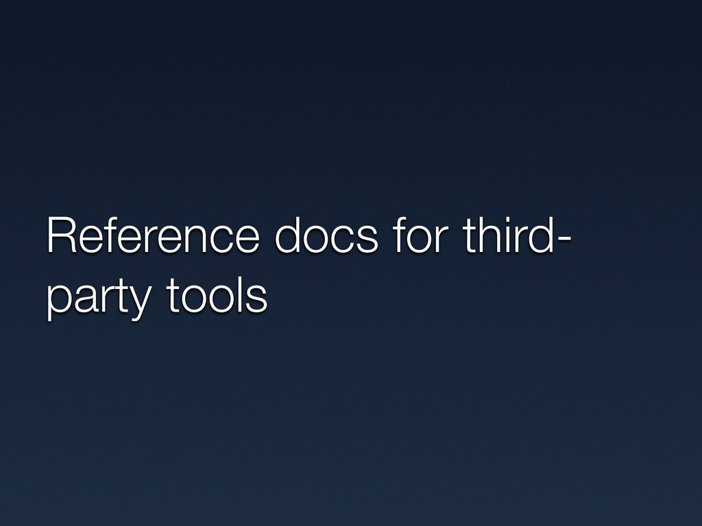 Reference docs for third- party tools