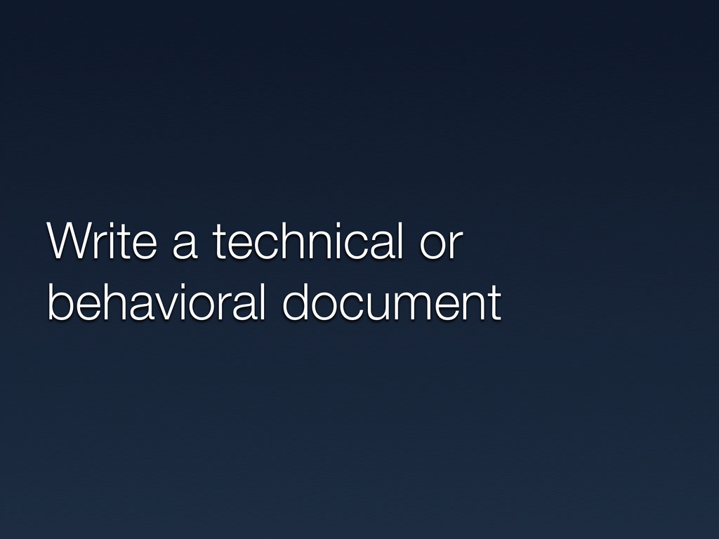 Write a technical or behavioral document