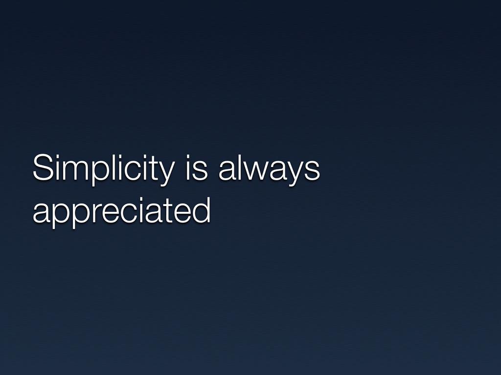 Simplicity is always appreciated