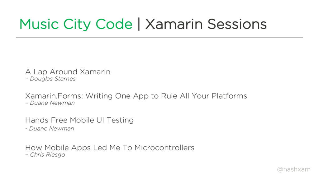@nashxam Music City Code | Xamarin Sessions A L...