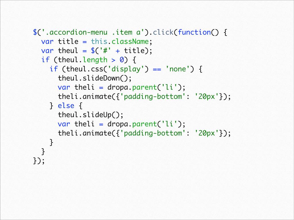 $('.accordion-menu .item a').click(function() {...