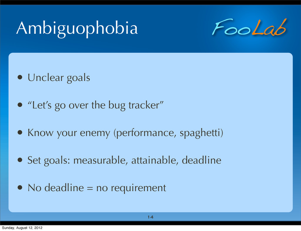 "FooLab Ambiguophobia • Unclear goals • ""Let's g..."