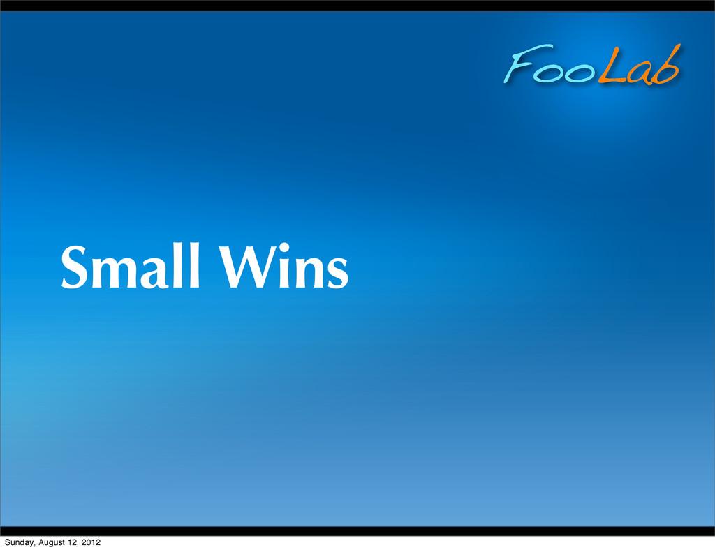 FooLab Small Wins Sunday, August 12, 2012