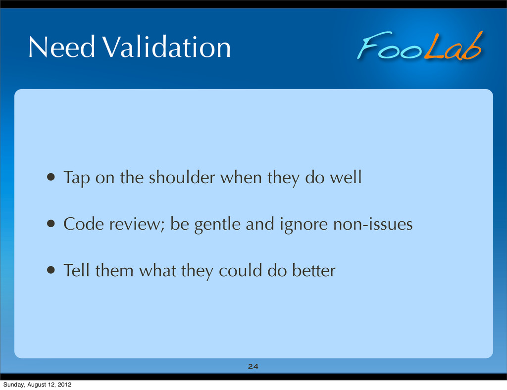 FooLab Need Validation • Tap on the shoulder wh...