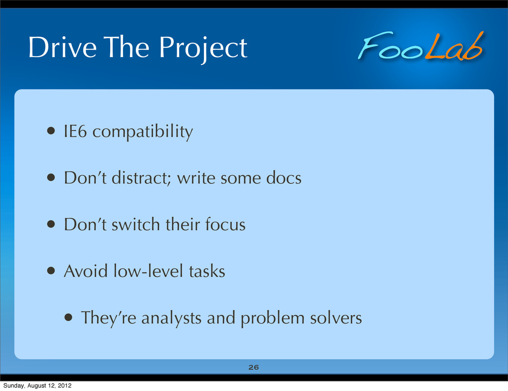 FooLab Drive The Project • IE6 compatibility • ...