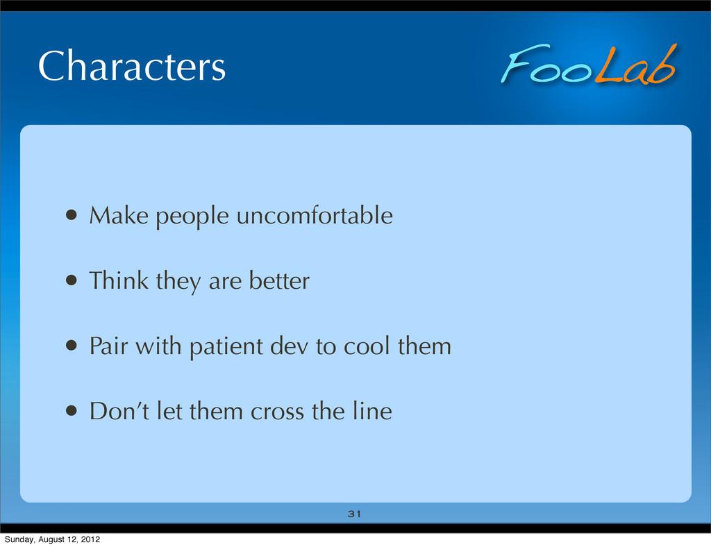FooLab Characters • Make people uncomfortable •...
