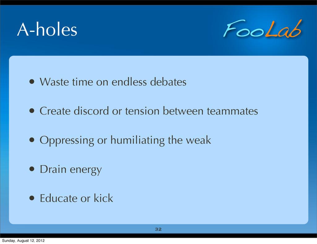 FooLab A-holes • Waste time on endless debates ...