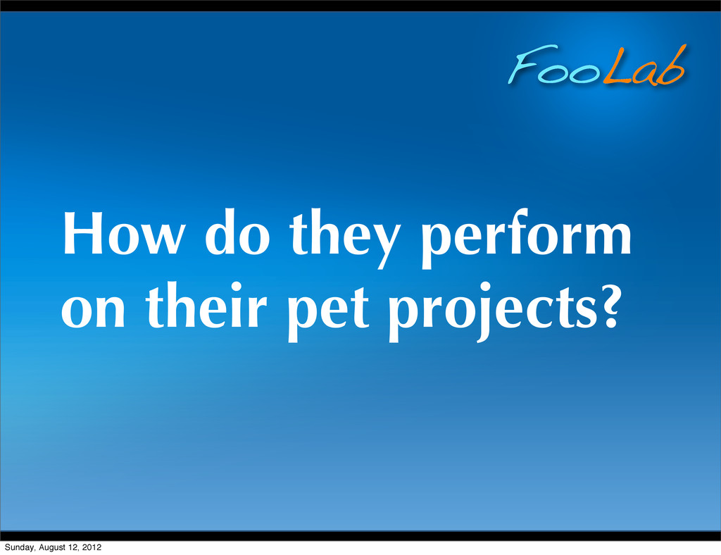 FooLab How do they perform on their pet project...