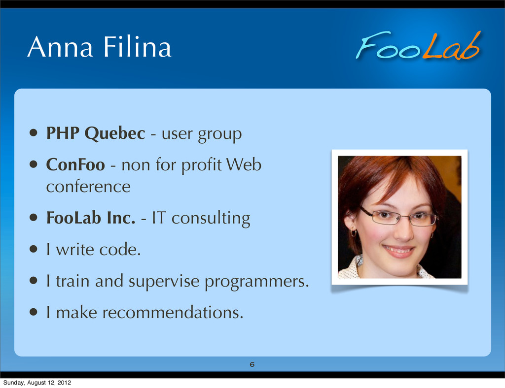FooLab Anna Filina 6 • PHP Quebec - user group ...