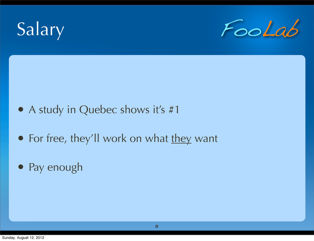 FooLab Salary • A study in Quebec shows it's #1...