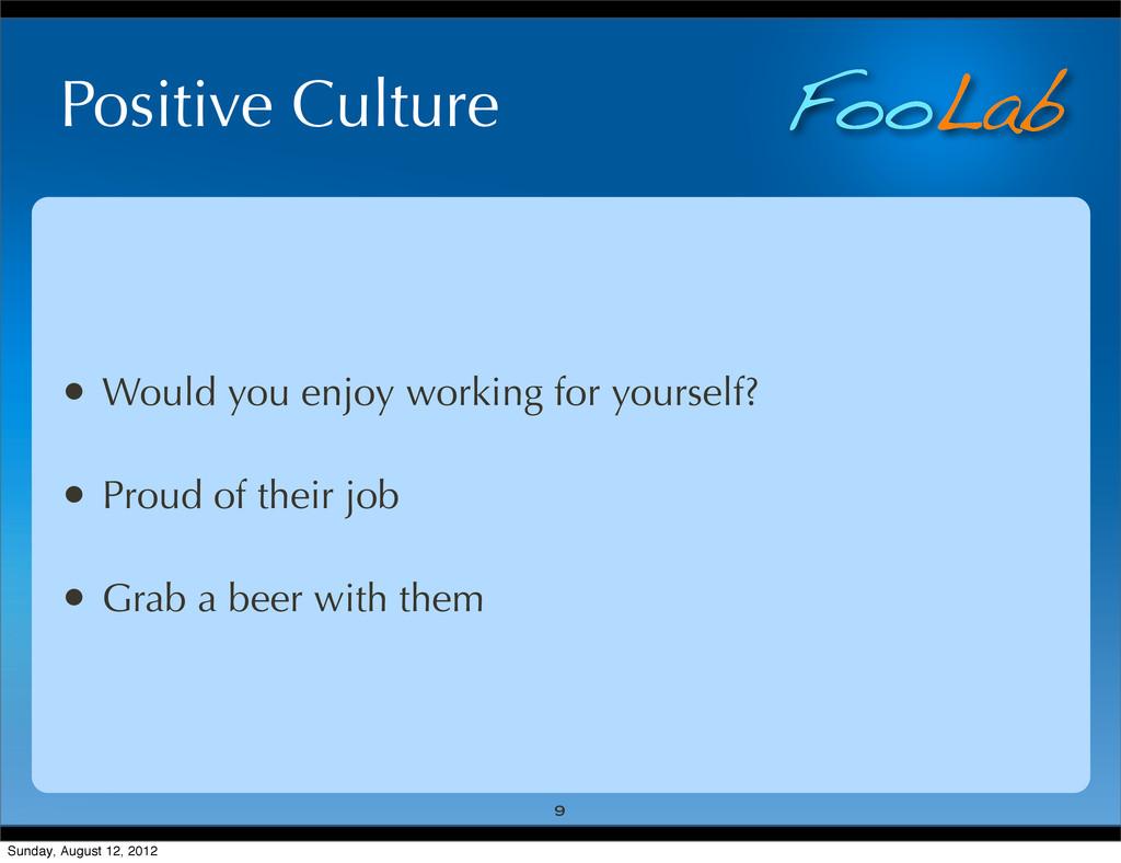 FooLab Positive Culture • Would you enjoy worki...