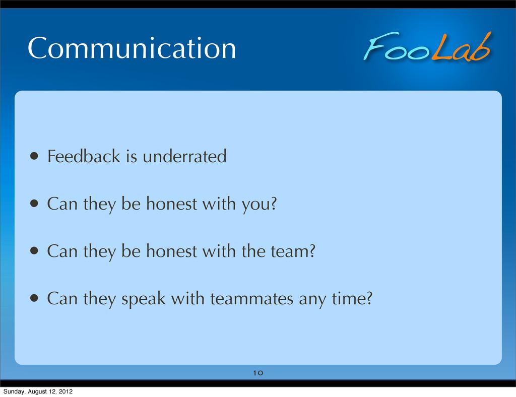 FooLab Communication • Feedback is underrated •...