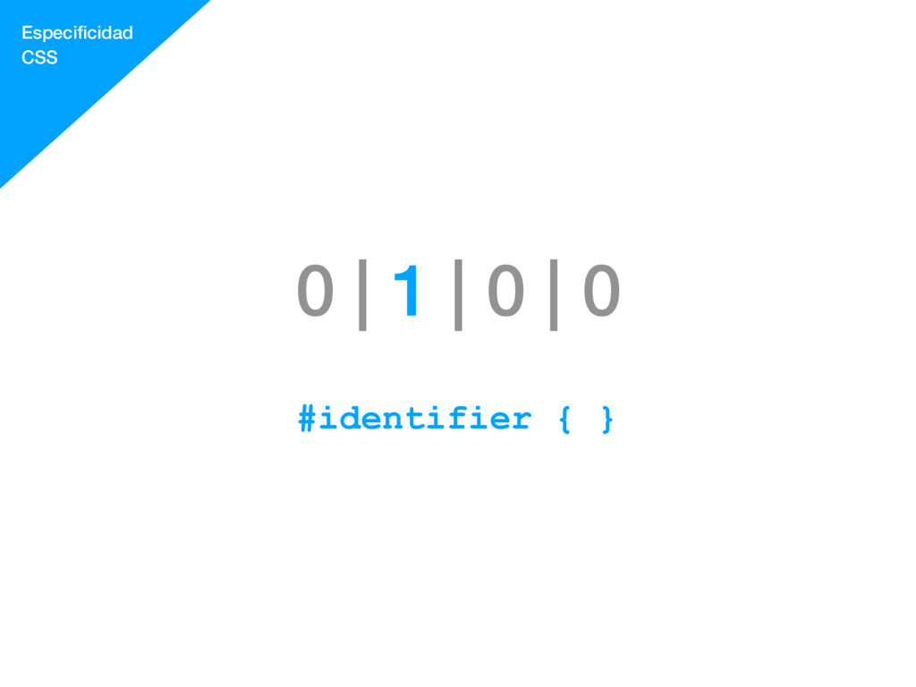 0 | 1 | 0 | 0 #identifier { } Especificidad CSS