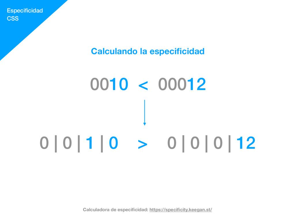 Especificidad CSS Calculando la especificidad 001...