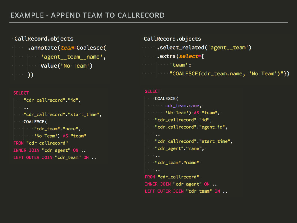 EXAMPLE - APPEND TEAM TO CALLRECORD