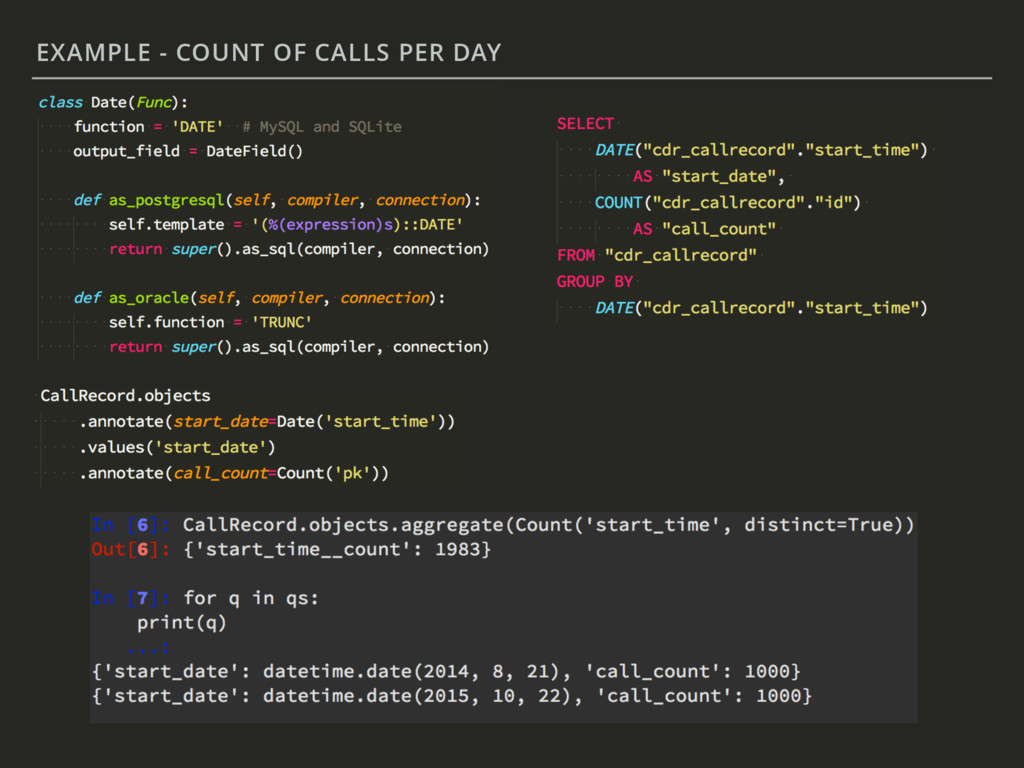 EXAMPLE - COUNT OF CALLS PER DAY