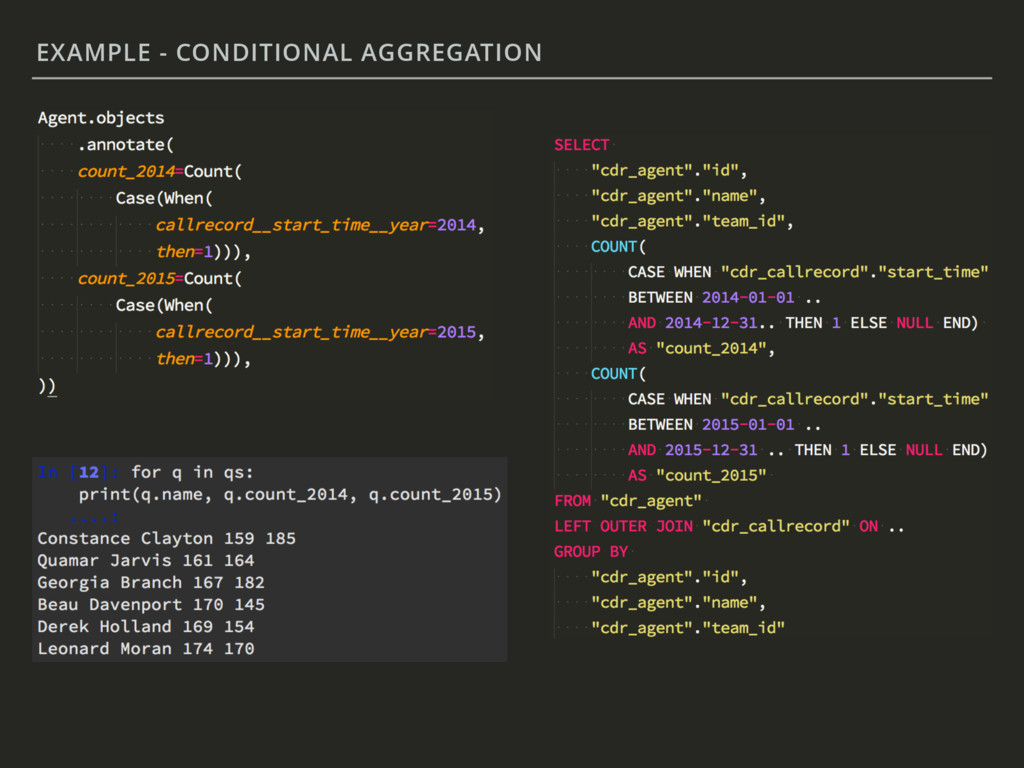 EXAMPLE - CONDITIONAL AGGREGATION