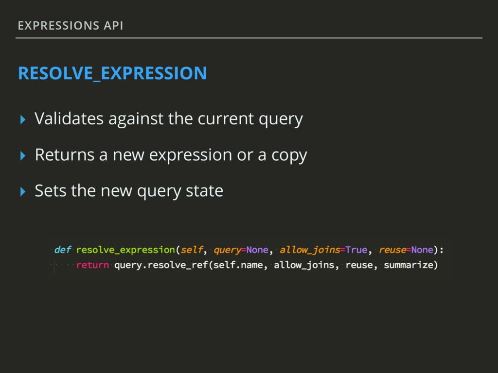 EXPRESSIONS API RESOLVE_EXPRESSION ▸ Validates ...