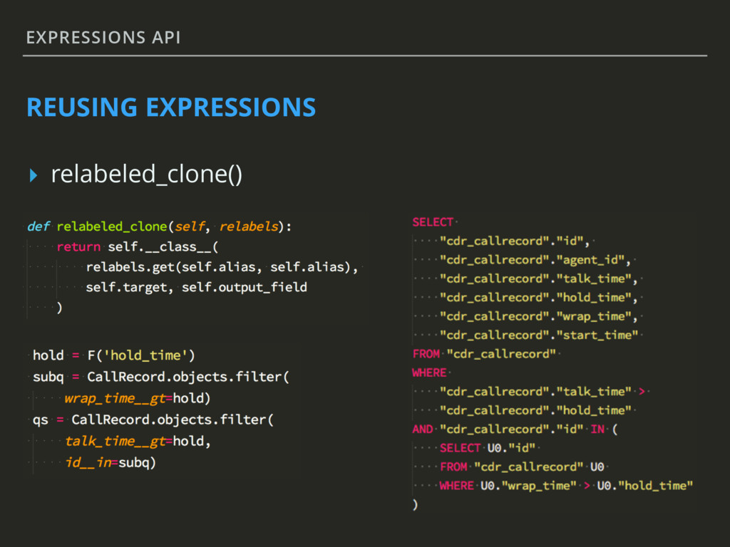 EXPRESSIONS API REUSING EXPRESSIONS ▸ relabeled...