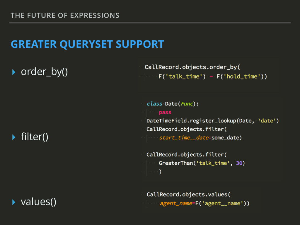 THE FUTURE OF EXPRESSIONS GREATER QUERYSET SUPP...