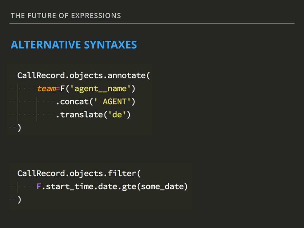 THE FUTURE OF EXPRESSIONS ALTERNATIVE SYNTAXES