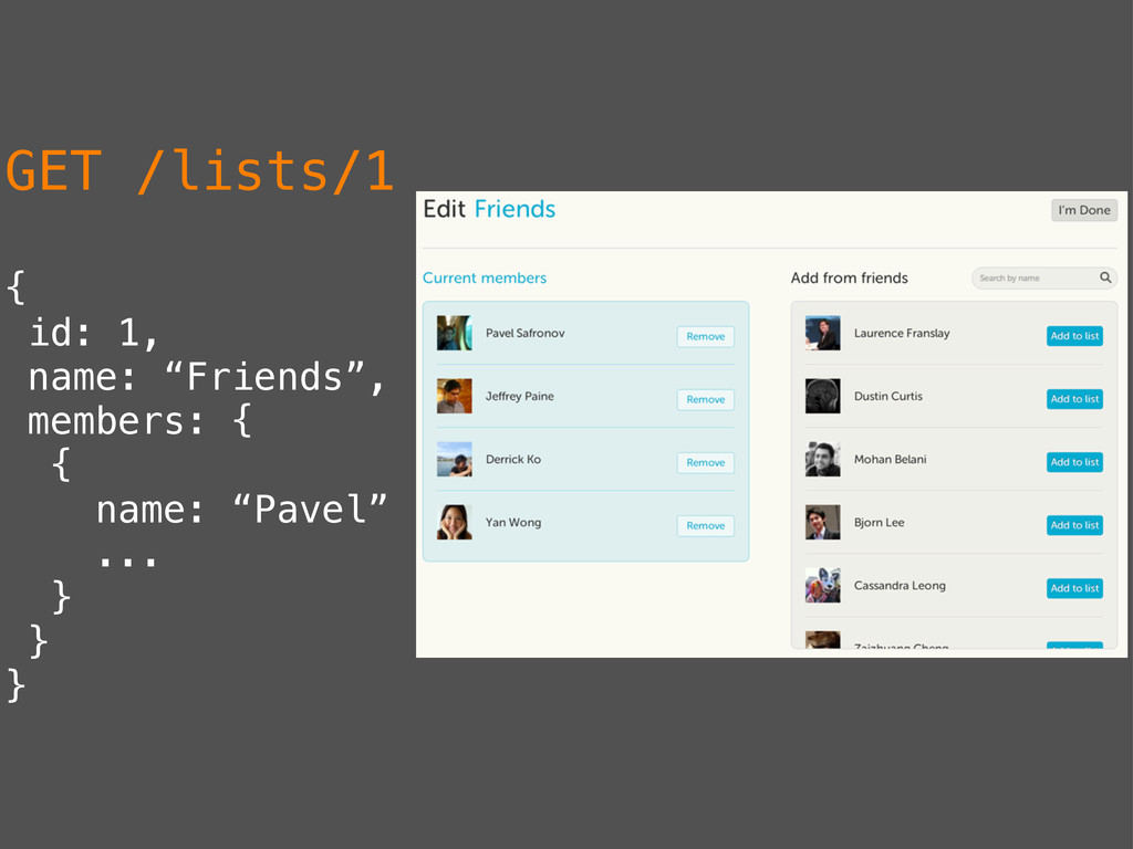 "GET /lists/1 { id: 1, name: ""Friends"", members:..."