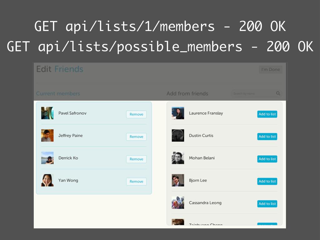 GET api/lists/1/members - 200 OK GET api/lists/...
