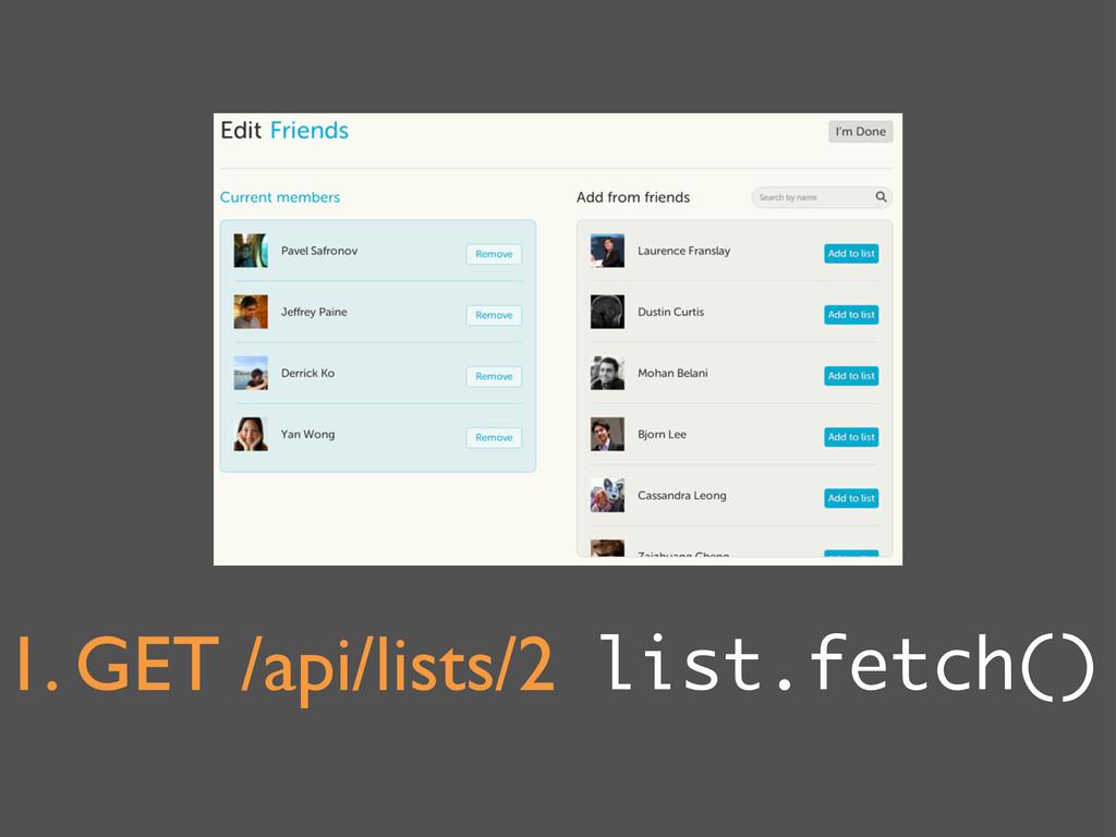 1. GET /api/lists/2 list.fetch()