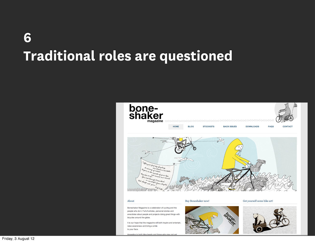 6 Traditional roles are questioned Friday, 3 Au...