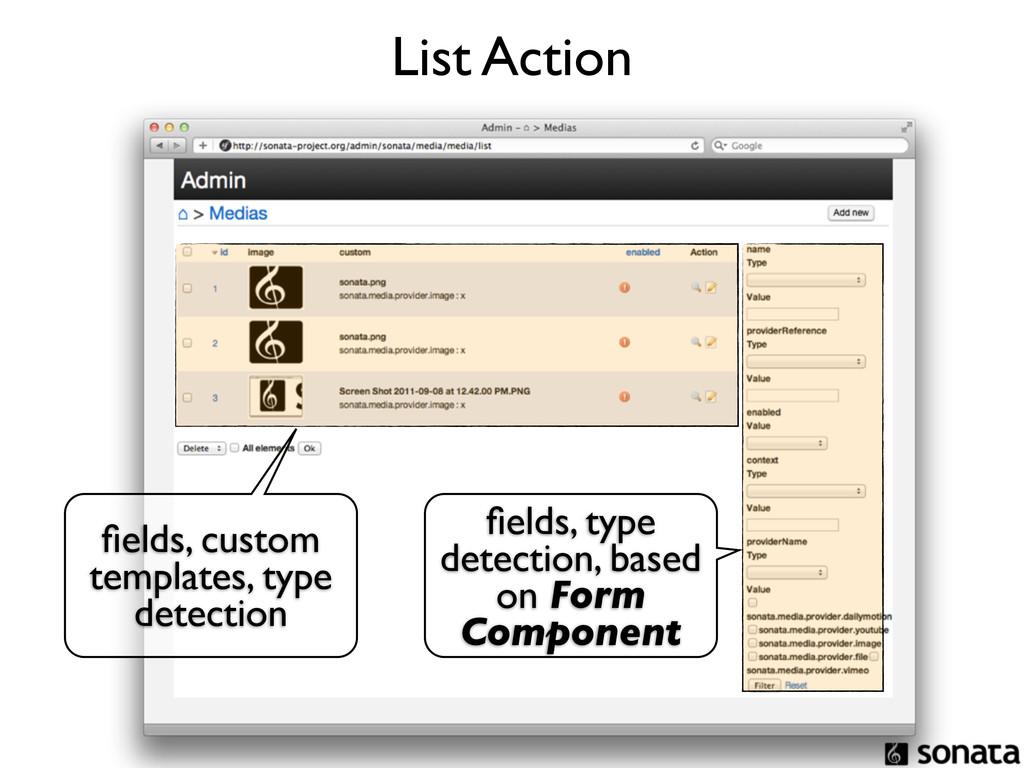 List Action fields, custom templates, type detec...