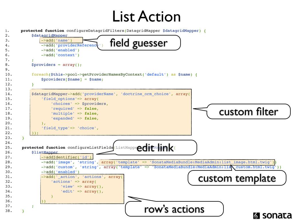 List Action 1. protected function configureData...