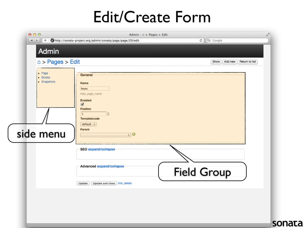 Edit/Create Form side menu Field Group