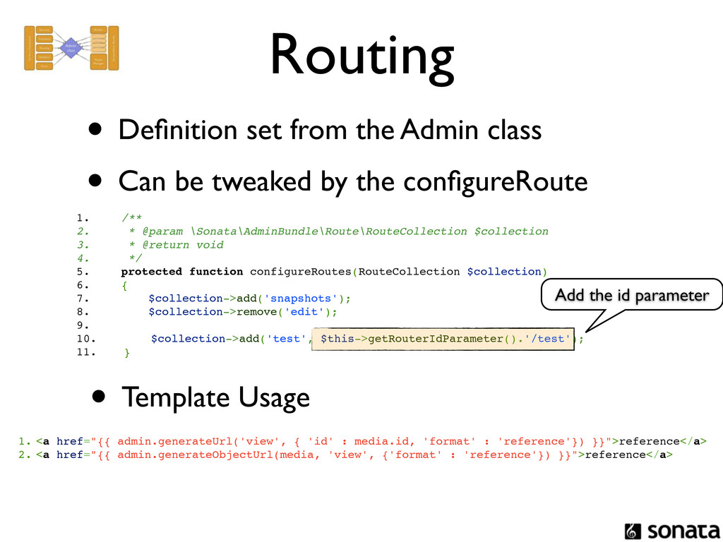 Routing • Definition set from the Admin class • ...