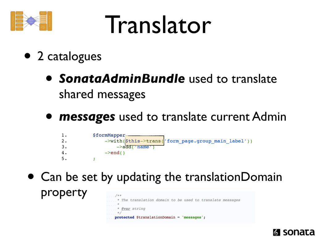 Translator • 2 catalogues • SonataAdminBundle u...