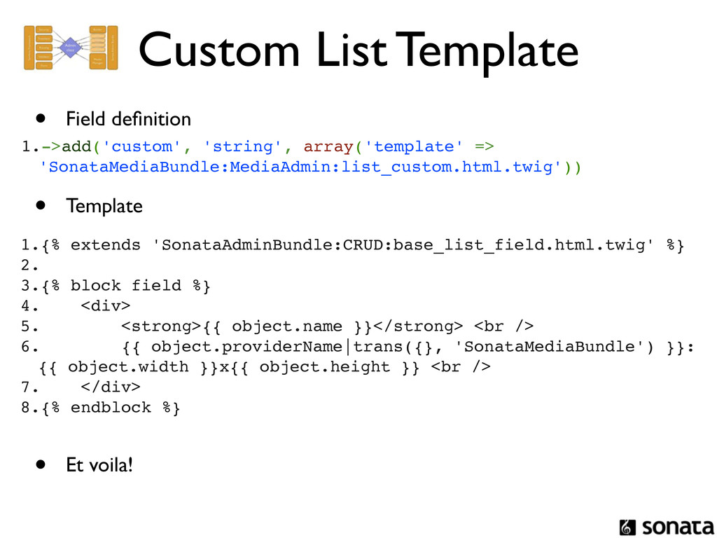 Custom List Template 1.->add('custom', 'string'...