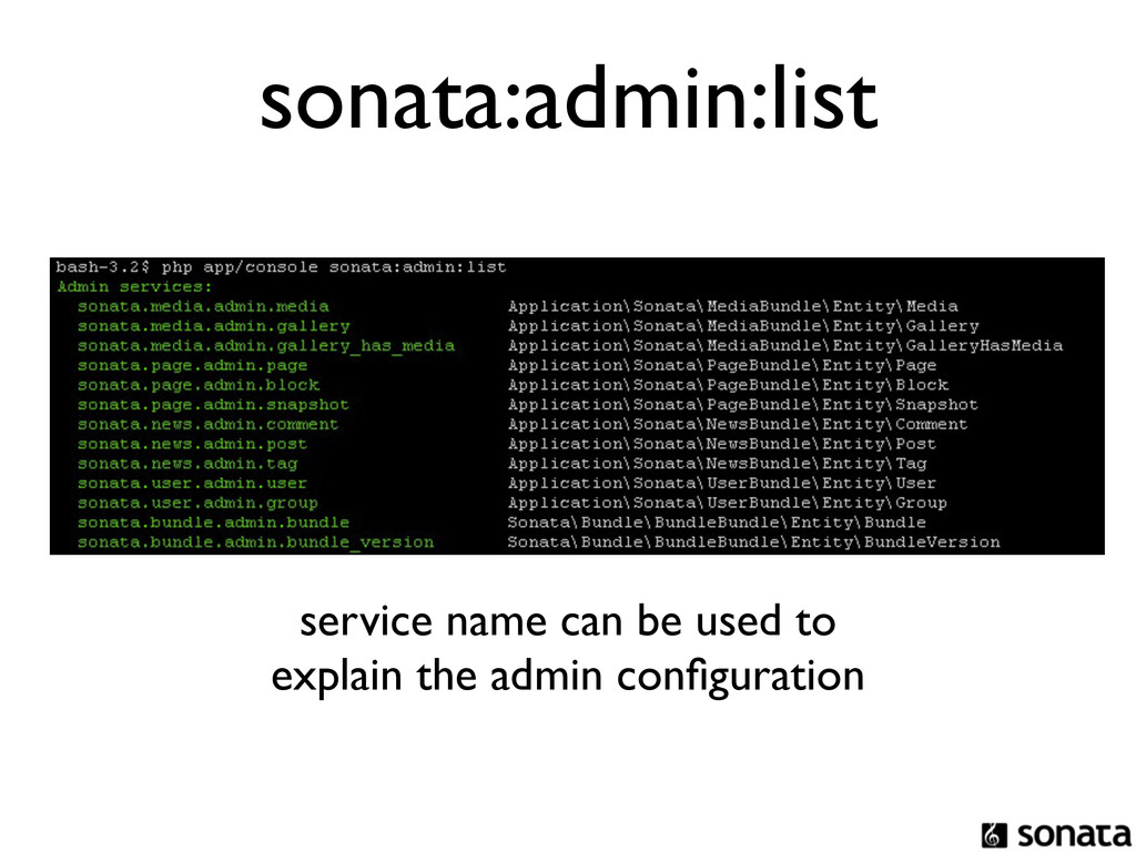 sonata:admin:list service name can be used to e...