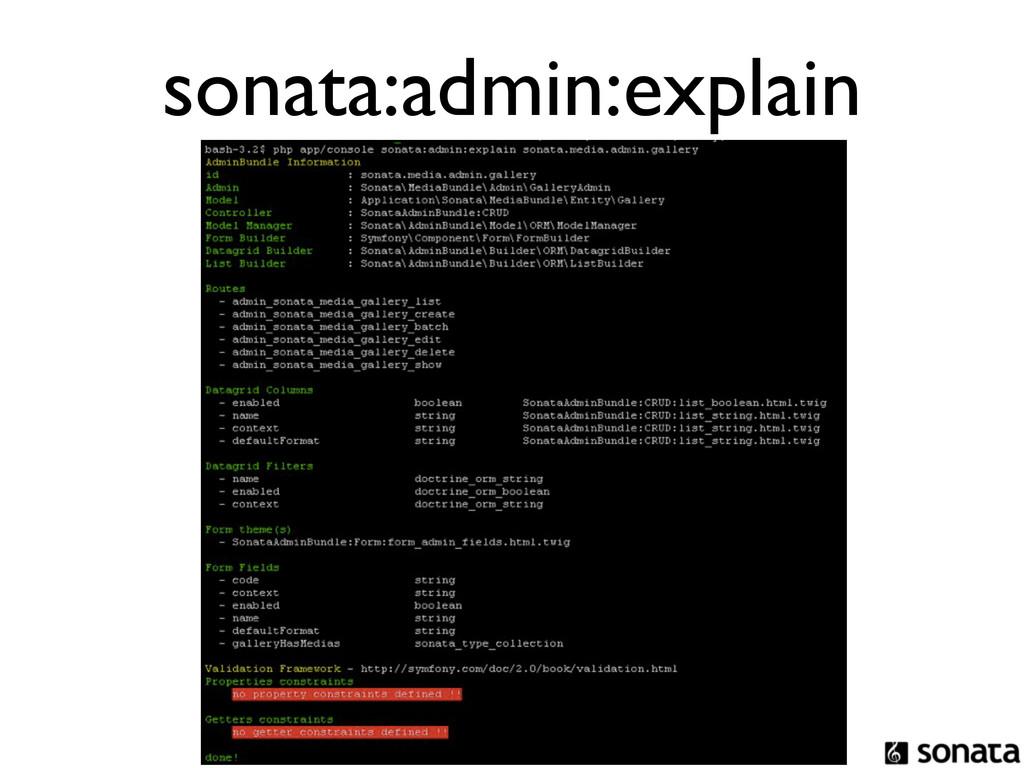 sonata:admin:explain