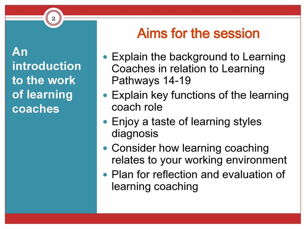 Aims for the session  Explain the background t...