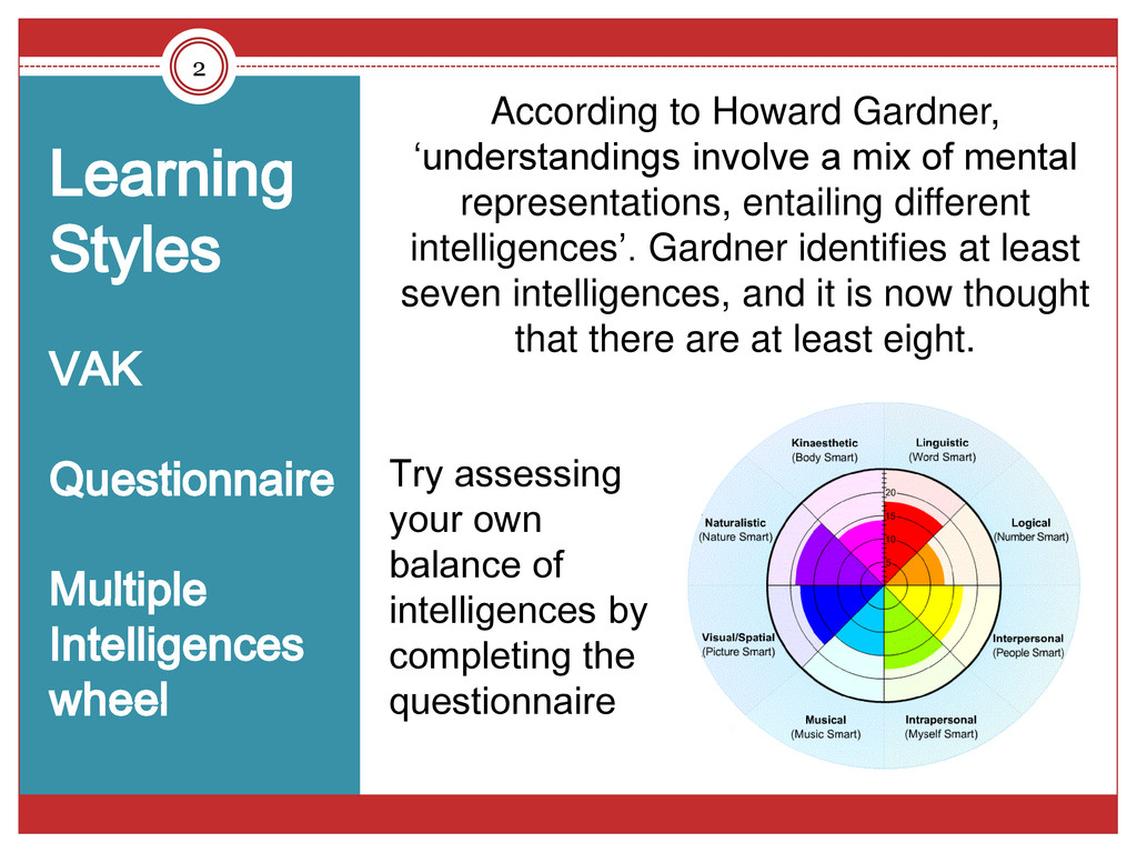 2 Learning Styles VAK Questionnaire Multiple In...