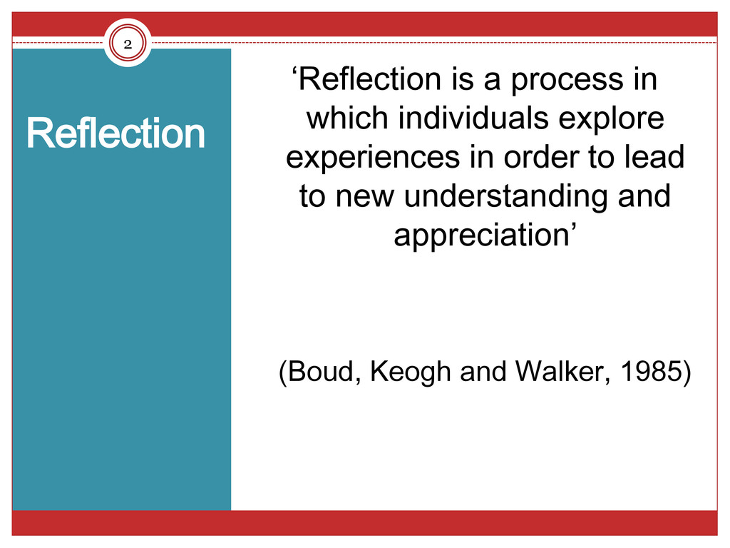 Reflection 'Reflection is a process in which in...