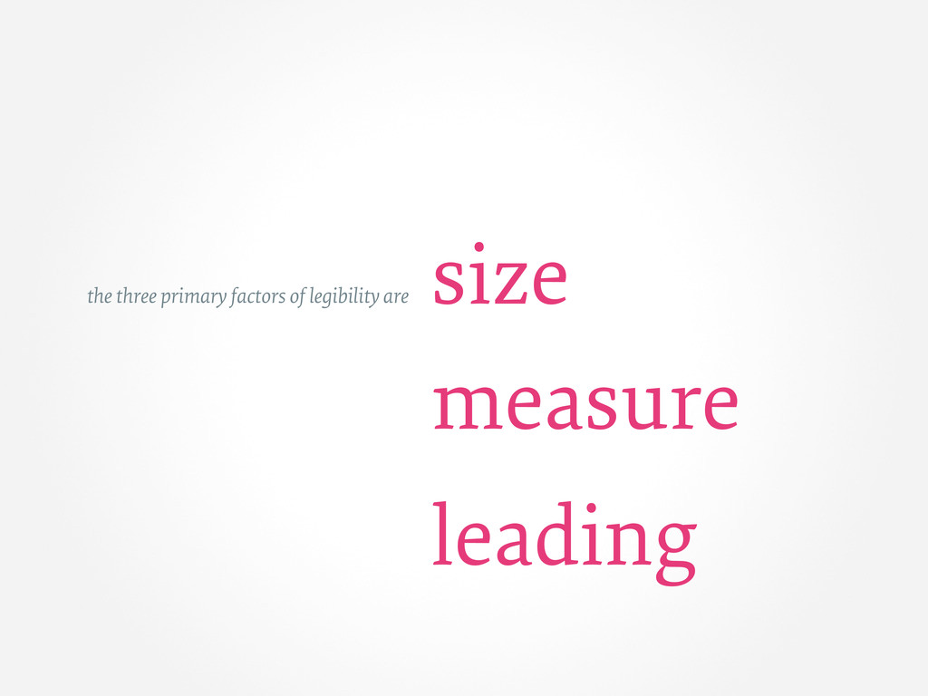 size measure leading the three primary factors ...