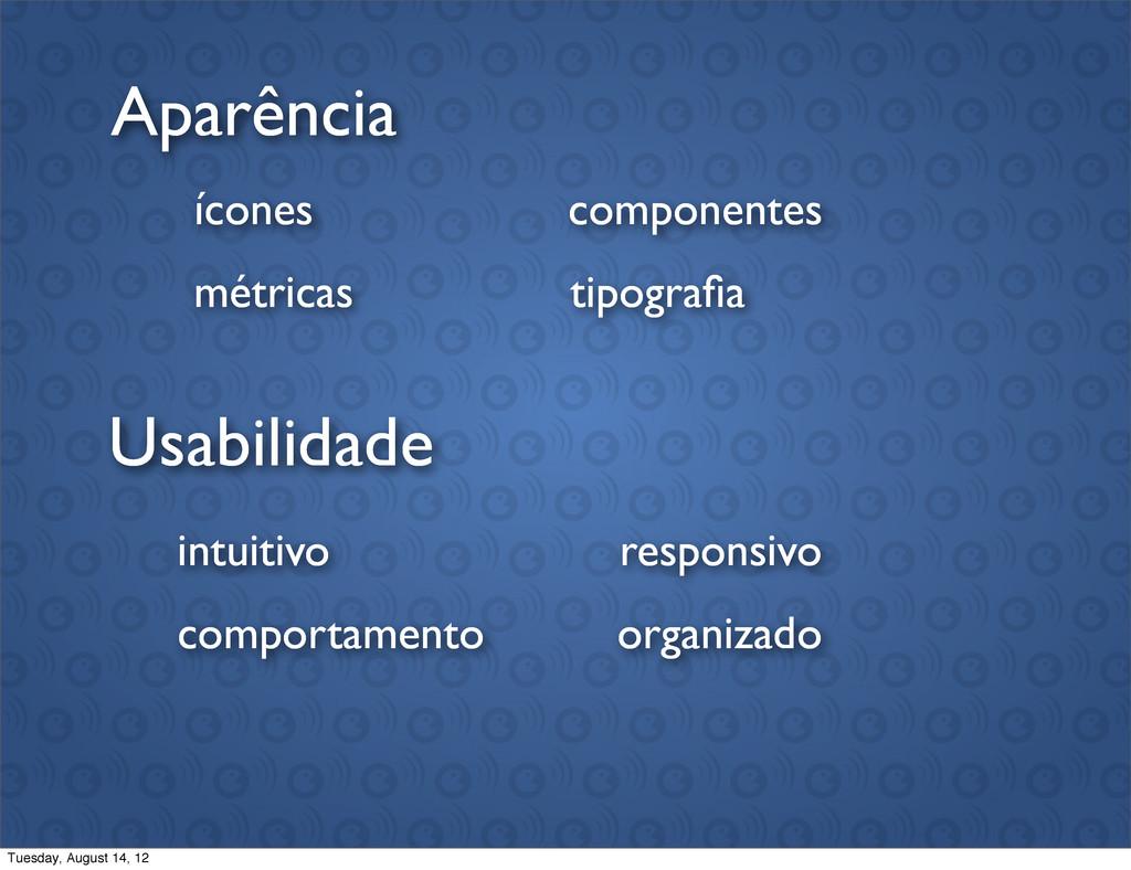 Usabilidade Aparência intuitivo comportamento o...