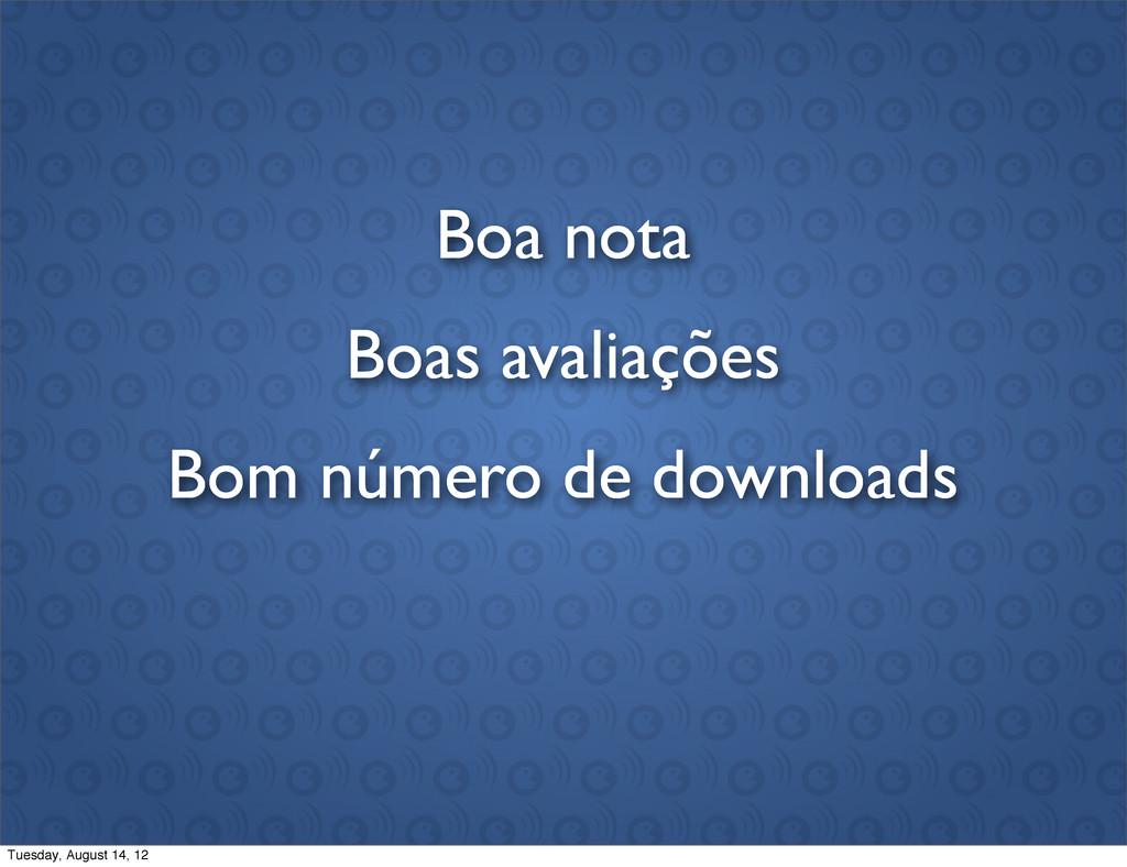 Boas avaliações Boa nota Bom número de download...